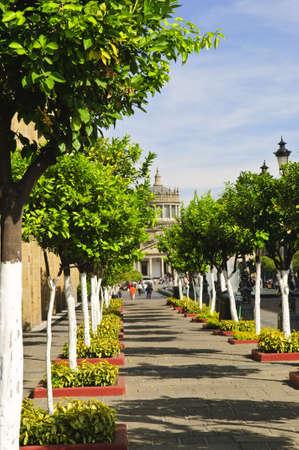 Plaza Tapatia leading to Hospicio Cabanas in historic Guadalajara center, Jalisco, Mexico