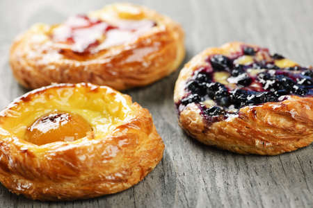 Closeup on three sweet fruit danish desserts