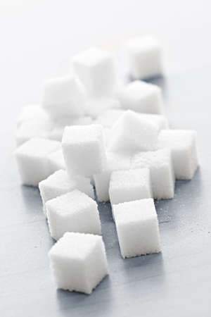 Close up of many white sugar cubes