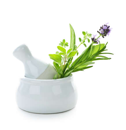 Healing herbs in white ceramic mortar and pestle isolated on white background