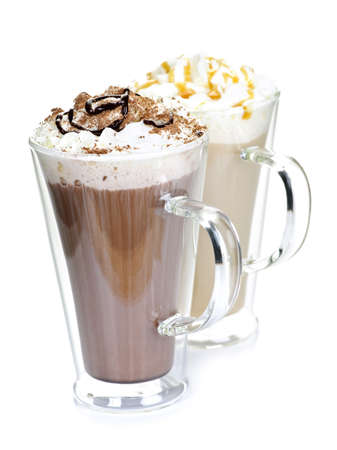 Photo pour Hot chocolate and coffee beverages with whipped cream isolated on white background - image libre de droit