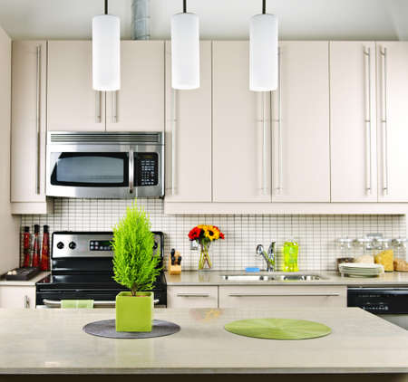 Modern kitchen interior with natural stone countertop