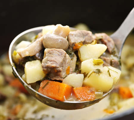 Hearty beef and potatoes stew with vegetables served with ladle