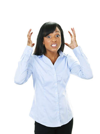 Frustrated black woman with arms raised isolated on white background