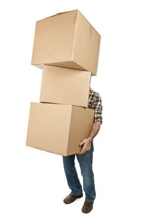 Man lifting stack of cardboard moving boxes isolated on white