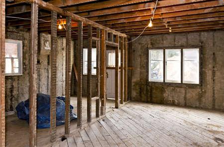 Photo pour Interior of a house under gut renovation at construction site - image libre de droit