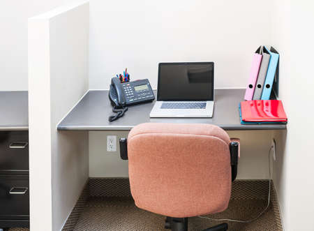 Photo for Workstation in office with swivel chair desk and laptop computer - Royalty Free Image