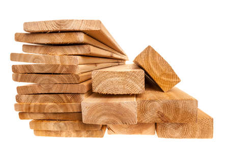 Photo pour Various sizes of wooden cedar boards isolated on white background - image libre de droit