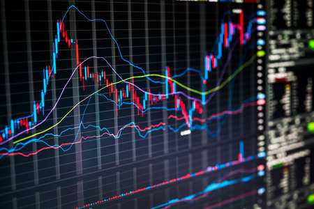 Photo pour Stock market charts and numbers displayed on trading screen of online investing platform - image libre de droit