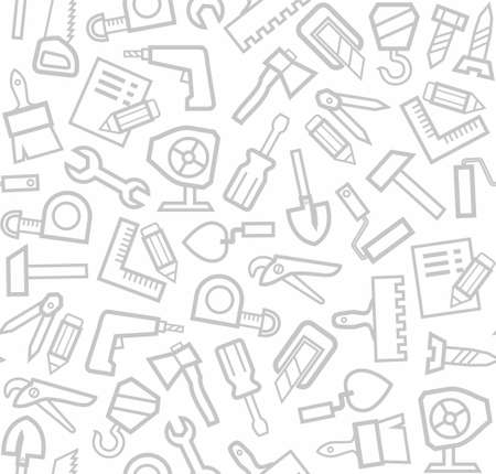 Construction tools, background, seamless, white  Vector