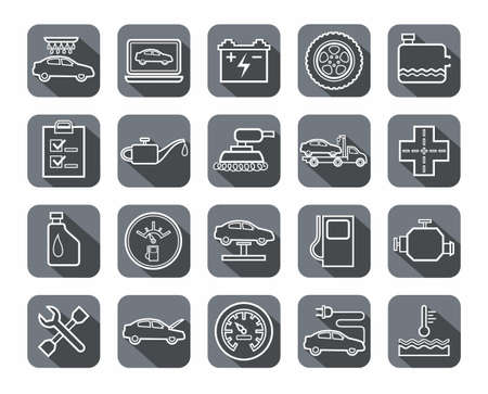 Repair and maintenance of vehicles, contour icons, gray
