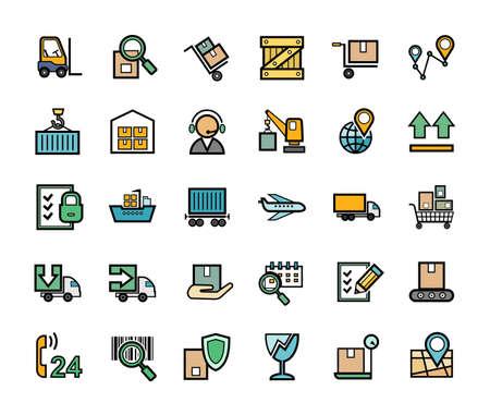 Illustration pour Cargo delivery, badges, set, color. Freight. Color images with a black outline. Vector. - image libre de droit