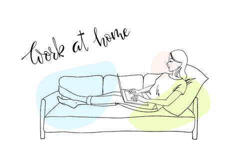 Illustration pour The girl works at home because of quarantine. Hand drawn sketch. Girl sitting in a chair with a laptop. Freelancer works from home. The danger of coronavirus. Everyone should stay home - image libre de droit