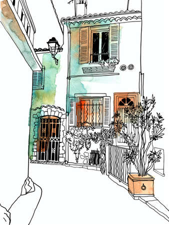 Illustration for Old street of romantic Provence, France. Lovely landscape in hand drawn sketch style. Line art. Wall decor. Vector illustration on background watercolor - Royalty Free Image