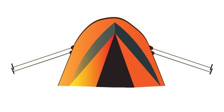 Illustration pour Orange tent for tourism, cartoon sketch illustration of camping equipment. Vector For the design of banners, sign boards, stickers, printed matter - image libre de droit
