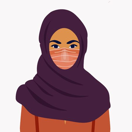 Illustration for Muslim girl in a mask. COVID-19 conceptual vector illustration. Protection against coronavirus or respiratory virus. Prevention of respiratory tract infections. - Royalty Free Image