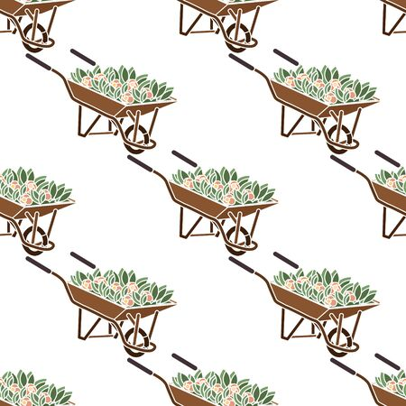 Illustration for Seamless pattern. Wheelbarrow brown with red flowers and green leaves. - Royalty Free Image