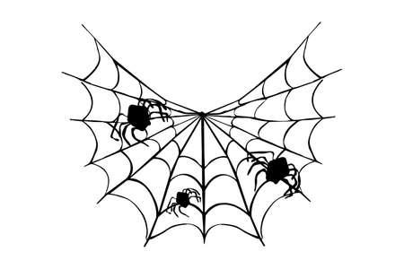 Illustration pour Hand-drawn cobwebs for anti-stress. Illustration in zentangle style. - image libre de droit