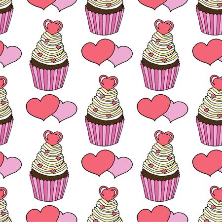Illustration for Vector graphic of the various sweets and desserts decorated into seamless pattern. Valentines day seamless pattern of hearts and cupcakes. Beautiful abstract pattern with Valentines day seamless pattern for decorative design. Logo element for wedding illustration. Vintage design. Greeting card. - Royalty Free Image