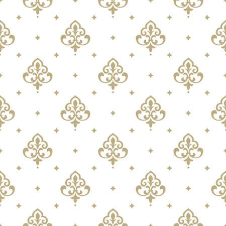 Ilustración de Wallpaper in the style of Baroque. A seamless vector background. White and gold floral ornament. Graphic vector pattern - Imagen libre de derechos