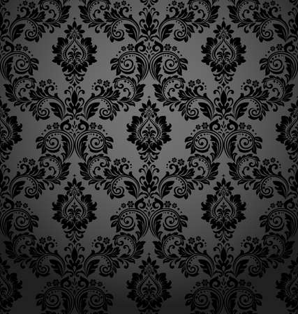 Illustration pour Floral pattern. Vintage wallpaper in the Baroque style. Seamless vector background. Black ornament for fabric, wallpaper, packaging. Ornate Damask flower ornament - image libre de droit