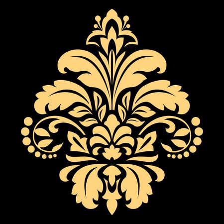 Illustration for Golden vector pattern on a black background. Damask graphic ornament. Floral design element. - Royalty Free Image
