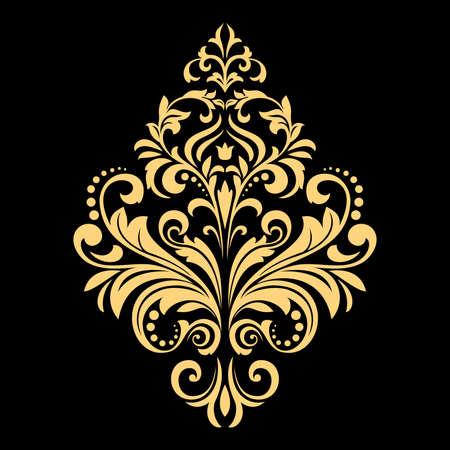 Ilustración de Golden vector pattern on a black background. Damask graphic ornament. Floral design element. - Imagen libre de derechos