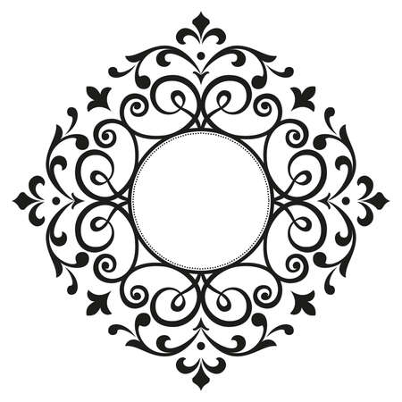Ilustración de Decorative frame. Elegant vector element for design in Eastern style, place for text. Floral black border. Lace illustration for invitations and greeting cards - Imagen libre de derechos
