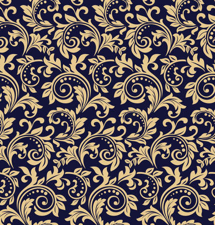 Illustration pour Wallpaper in the style of Baroque. Seamless vector background. Dark blue and gold floral ornament. Graphic pattern for fabric, wallpaper, packaging. Ornate Damask flower ornament - image libre de droit