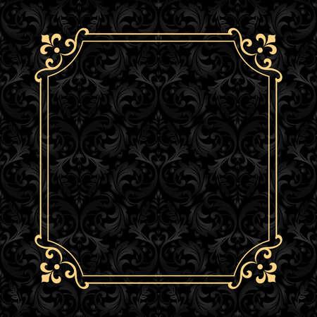 Photo pour Vintage gold frame on the black background. Damascus antique ornament. Seamless abstract floral pattern. - image libre de droit