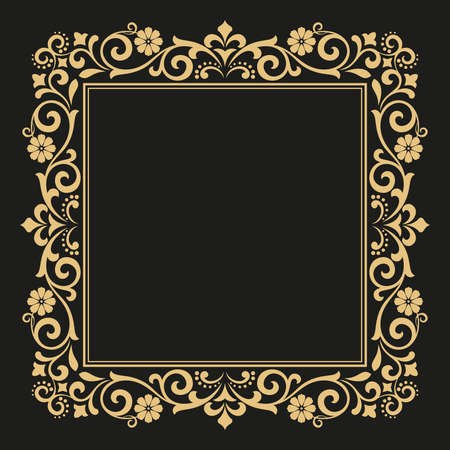 Photo pour Decorative line art frames for design template. Elegant element for design in Eastern style, place for text. Golden outline floral border. Lace illustration for invitations and greeting cards. - image libre de droit