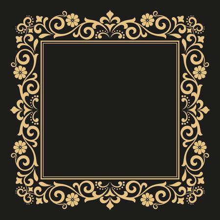 Foto de Decorative line art frames for design template. Elegant element for design in Eastern style, place for text. Golden outline floral border. Lace illustration for invitations and greeting cards. - Imagen libre de derechos
