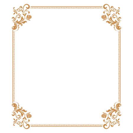 Foto de Decorative frame. Elegant element for design in Eastern style, place for text. Floral golden border. Lace illustration for invitations and greeting cards. - Imagen libre de derechos