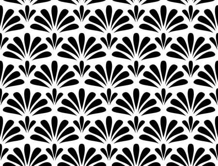 Ilustración de Flower geometric pattern. Seamless vector background. White and black ornament. Ornament for fabric, wallpaper, packaging, Decorative print - Imagen libre de derechos