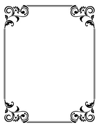 Illustration pour Decorative frame Elegant vector element for design in Eastern style, place for text. Floral black border. Lace illustration for invitations and greeting cards - image libre de droit