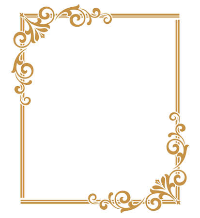Illustration pour Decorative frame Elegant vector element for design in Eastern style, place for text. Floral golden border. Lace illustration for invitations and greeting cards. - image libre de droit