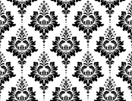 Illustration pour Wallpaper in the style of Baroque. Seamless vector background. White and black floral ornament. Graphic pattern for fabric, wallpaper, packaging. Ornate Damask flower ornament - image libre de droit