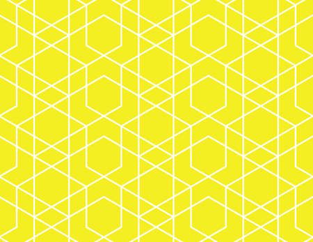 Illustration for Abstract geometric pattern. A seamless vector background. White and yellow ornament. Graphic modern pattern. Simple lattice graphic design - Royalty Free Image