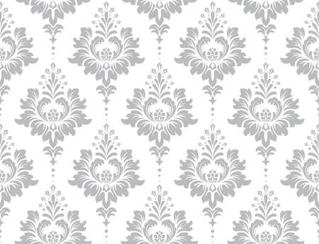 Illustration pour Wallpaper in the style of Baroque. Seamless vector background. White and grey floral ornament. Graphic pattern for fabric, wallpaper, packaging. Ornate Damask flower ornament. - image libre de droit