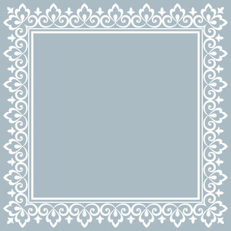 Illustration pour Decorative frame Elegant vector element for design in Eastern style, place for text. Floral blue border. Lace illustration for invitations and greeting cards - image libre de droit