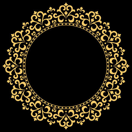 Illustration for Decorative frame Elegant vector element for design in Eastern style, place for text. Floral golden border. Lace illustration for invitations and greeting cards. - Royalty Free Image