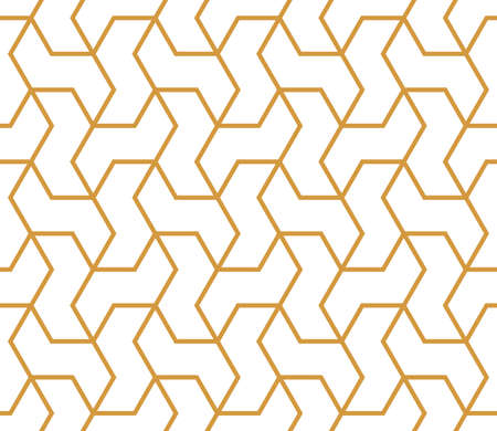 Illustration for The geometric pattern with lines. Seamless vector background. White and gold texture. Graphic modern pattern. Simple lattice graphic design - Royalty Free Image