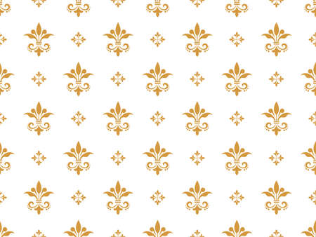 Illustration for Flower geometric pattern. Seamless vector background. White and gold ornament - Royalty Free Image