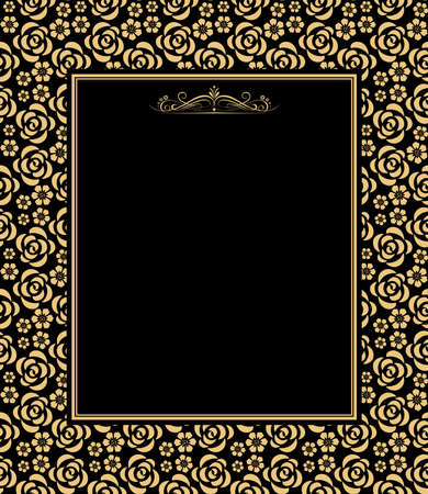 Illustration pour Decorative frame Elegant vector element for design in Eastern style, place for text. Floral golden and black border. Lace illustration for invitations and greeting cards - image libre de droit