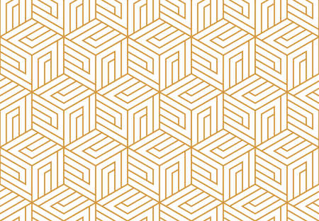 Illustration pour Abstract geometric pattern with stripes, lines. Seamless vector background. White and gold ornament. Simple lattice graphic design - image libre de droit