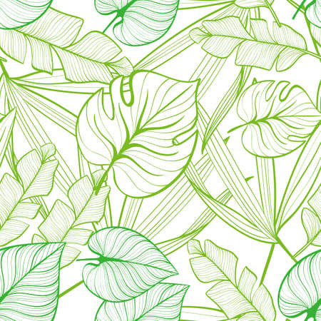 Illustration pour Seamless floral pattern with tropical leaves. Line drawing. Hand-drawn illustration. - image libre de droit