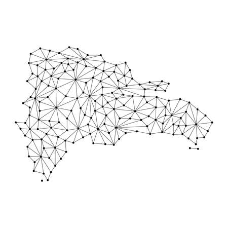 Dominican Republic map of polygonal mosaic lines network, rays and dots vector illustration.