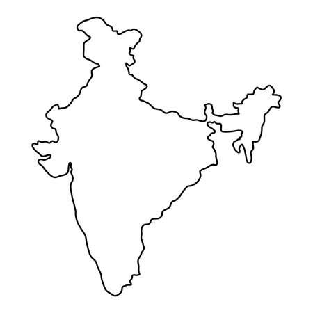 Ilustración de India map of black contour curves of vector illustration - Imagen libre de derechos