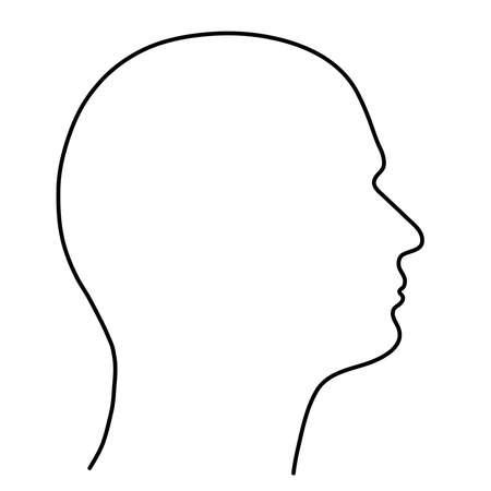 Illustration pour Human head of a man, the outline of black lines on a white background. Vector illustration. - image libre de droit