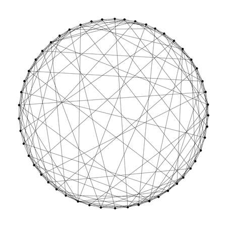 Photo pour Wireframe sphere from abstract futuristic polygonal black lines and dots. Vector illustration. - image libre de droit
